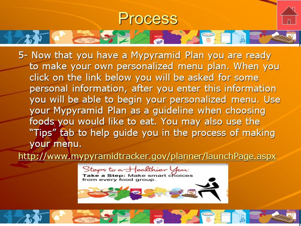 Process 6- Now that you have made your personalized menu plan, you may print it out and use it on a daily basis and use it as a guide to your healthier lifestyle.