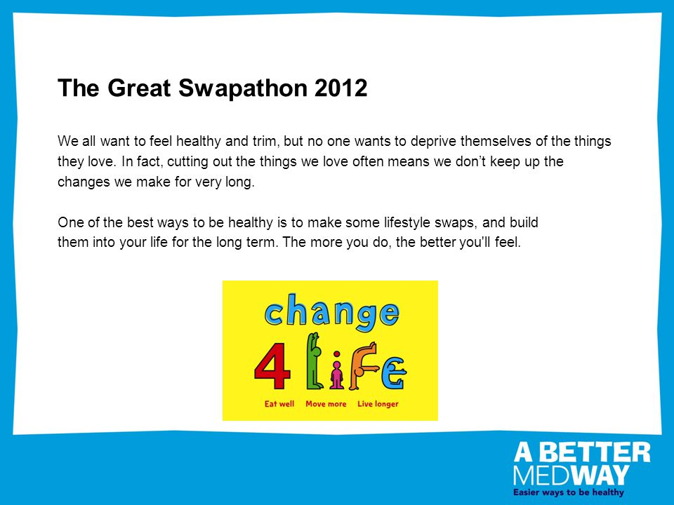 The Great Swapathon 2012 We all want to feel healthy and trim, but no one wants to deprive themselves of the things they love.