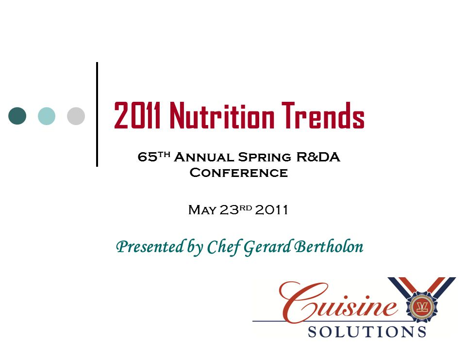 NRA Chef Survey What's Hot in 2011 October 2010 Nutrition/Health – lower sodium, calorie & fat Locally sourced meats & seafood Locally grown produce Newly fabricated cuts of meat Non-traditional fish Sous-vide preparation method Ethnic foods (i.e.