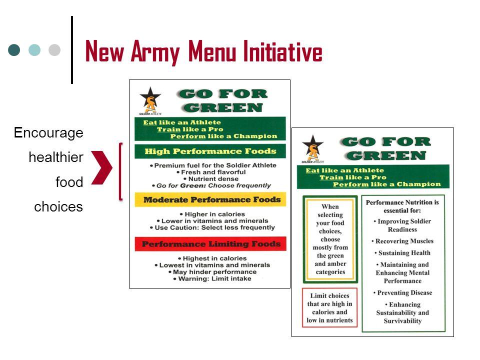 New Army Menu Initiative Encourage healthier food choices