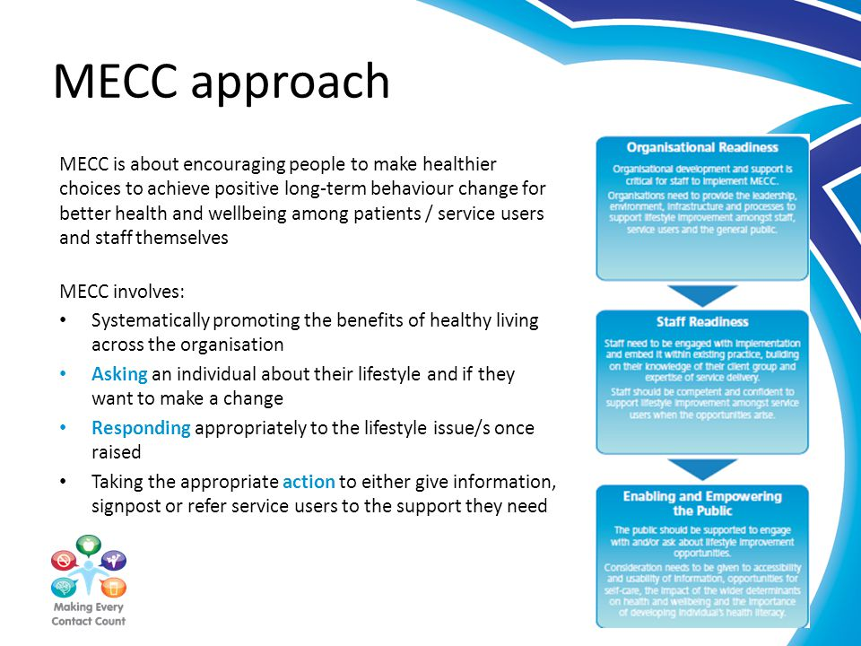 MECC approach MECC is about encouraging people to make healthier choices to achieve positive long-term behaviour change for better health and wellbeing among patients / service users and staff themselves MECC involves: Systematically promoting the benefits of healthy living across the organisation Asking an individual about their lifestyle and if they want to make a change Responding appropriately to the lifestyle issue/s once raised Taking the appropriate action to either give information, signpost or refer service users to the support they need