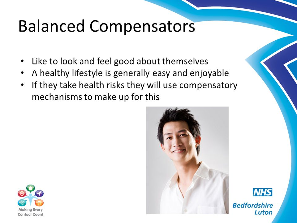 Balanced Compensators Like to look and feel good about themselves A healthy lifestyle is generally easy and enjoyable If they take health risks they w