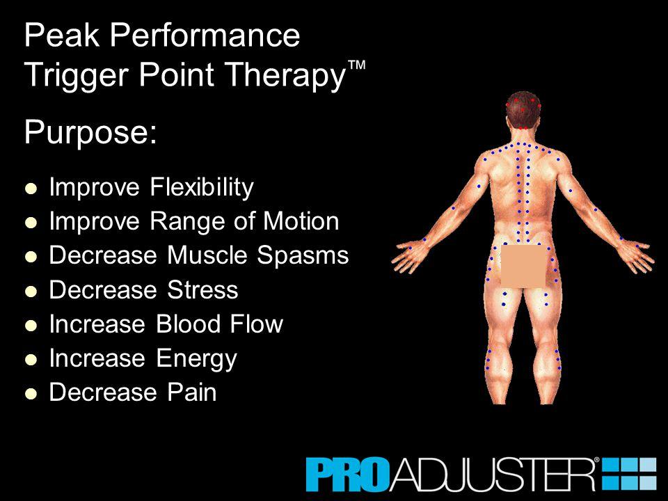 Purpose: Improve Flexibility Improve Range of Motion Decrease Muscle Spasms Decrease Stress Increase Blood Flow Increase Energy Decrease Pain Peak Per