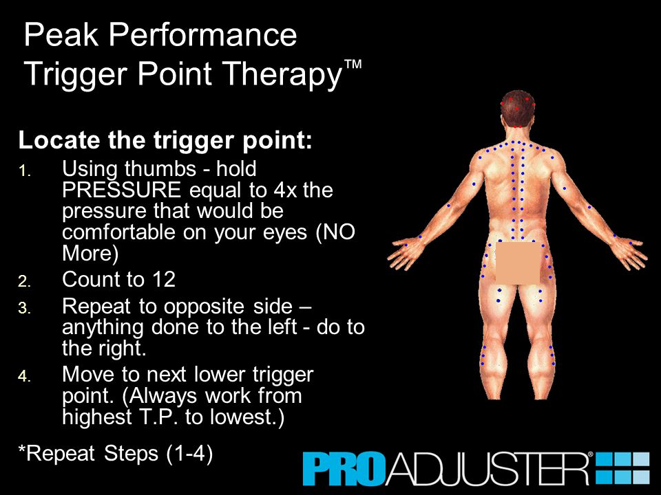 Locate the trigger point: 1. 1. Using thumbs - hold PRESSURE equal to 4x the pressure that would be comfortable on your eyes (NO More) 2. 2. Count to