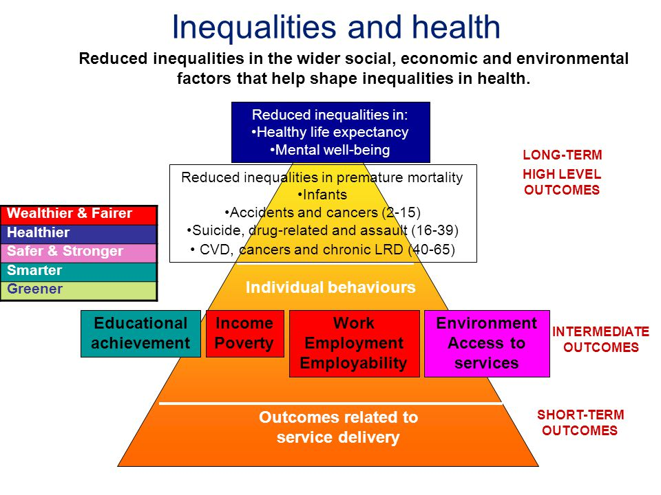 Inequalities and health Reduced inequalities in the wider social, economic and environmental factors that help shape inequalities in health. Individua
