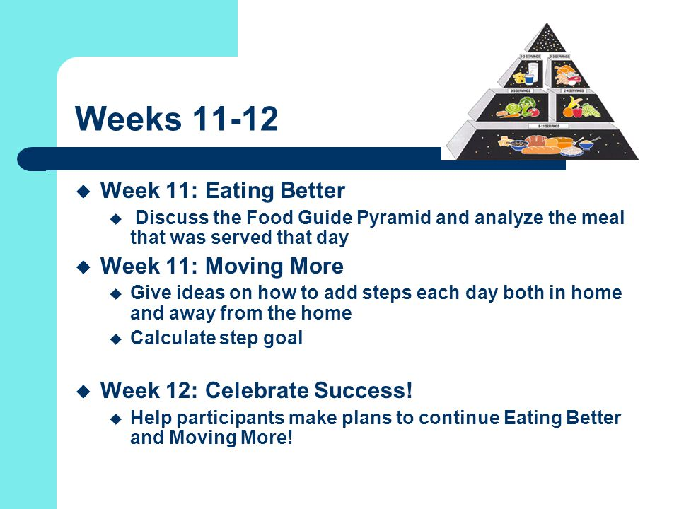 Weeks 11-12  Week 11: Eating Better  Discuss the Food Guide Pyramid and analyze the meal that was served that day  Week 11: Moving More  Give ideas on how to add steps each day both in home and away from the home  Calculate step goal  Week 12: Celebrate Success.