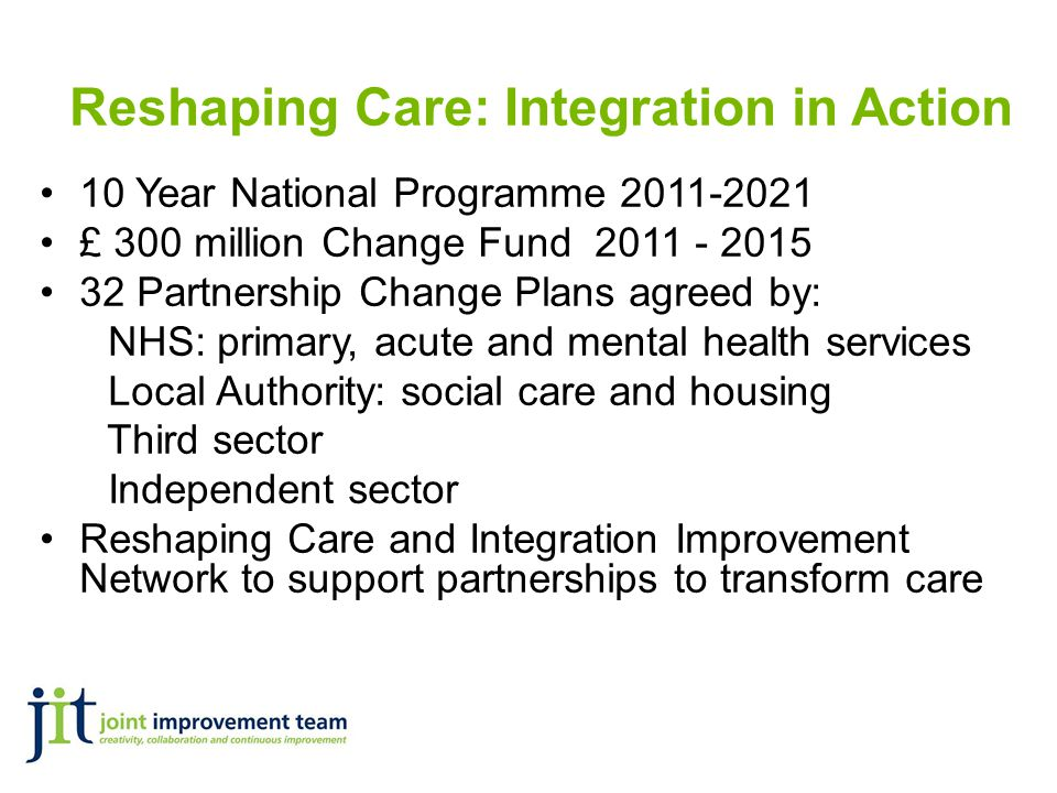Reshaping Care: Integration in Action 10 Year National Programme 2011-2021 £ 300 million Change Fund 2011 - 2015 32 Partnership Change Plans agreed by: NHS: primary, acute and mental health services Local Authority: social care and housing Third sector Independent sector Reshaping Care and Integration Improvement Network to support partnerships to transform care