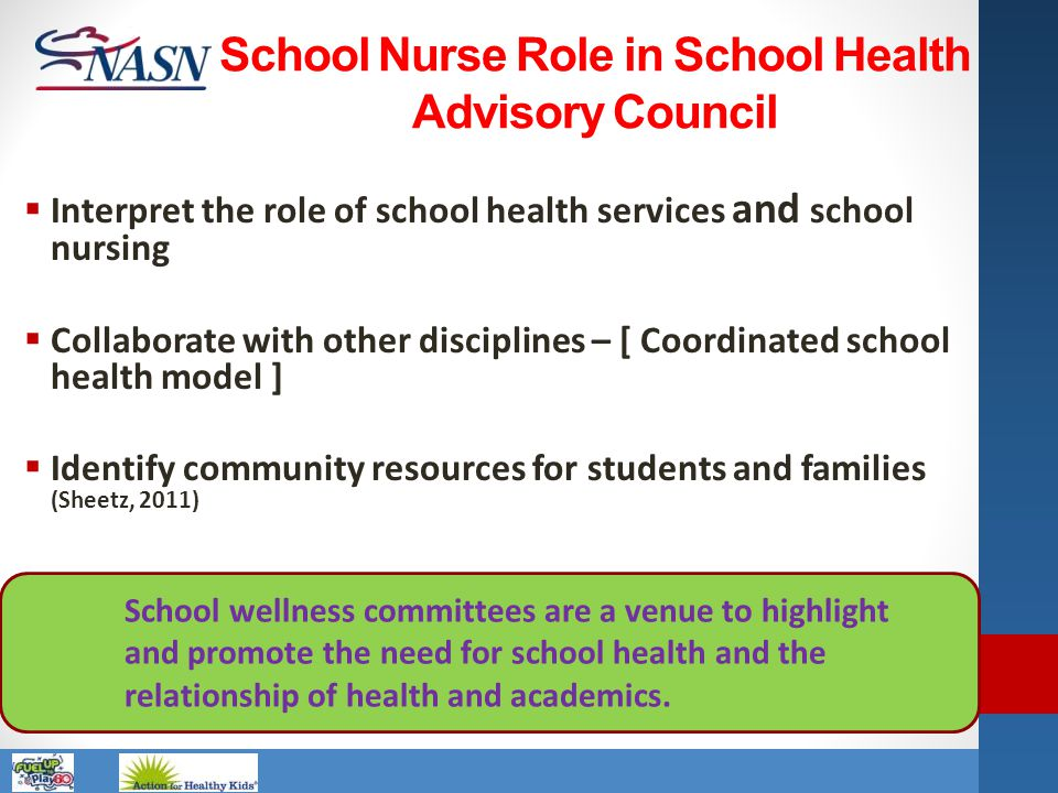 Name of Presentation School wellness committees are a venue to highlight and promote the need for school health and the relationship of health and aca