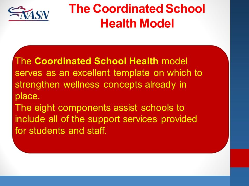 Name of Presentation The Coordinated School Health model serves as an excellent template on which to strengthen wellness concepts already in place. Th