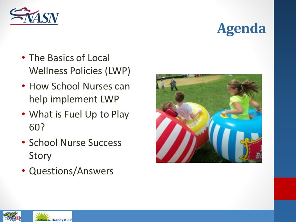Name of Presentation Agenda The Basics of Local Wellness Policies (LWP) How School Nurses can help implement LWP What is Fuel Up to Play 60? School Nu
