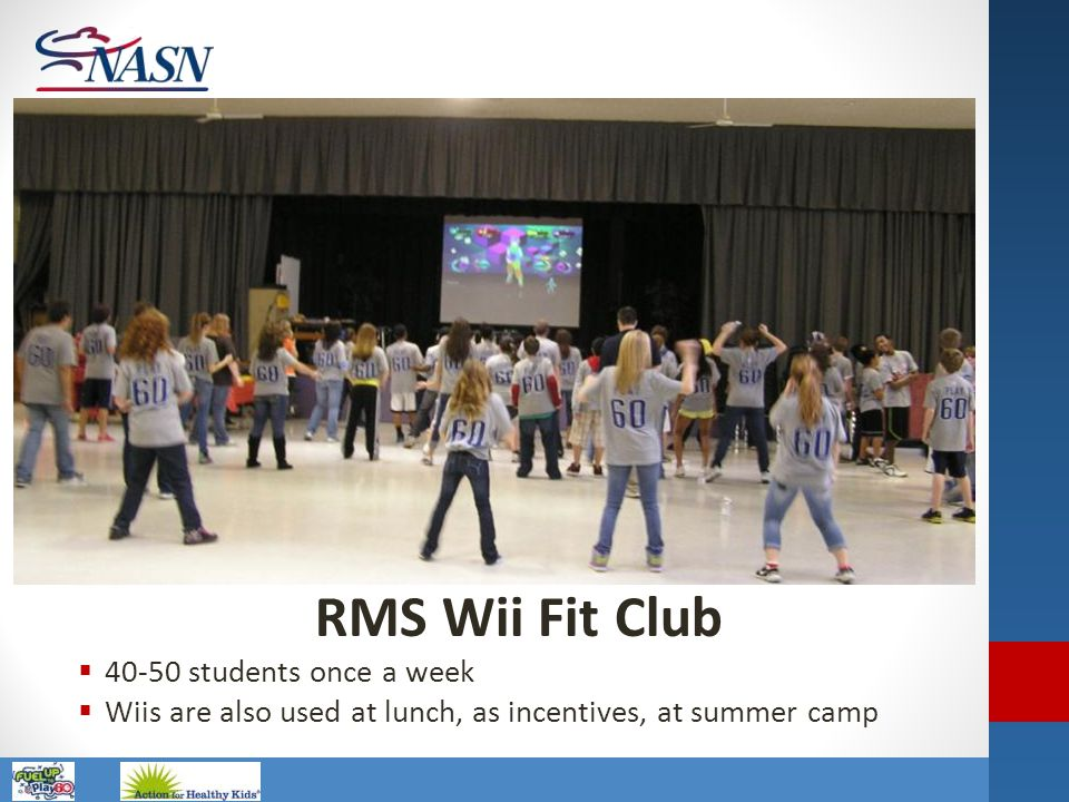 Name of Presentation RMS Wii Fit Club  40-50 students once a week  Wiis are also used at lunch, as incentives, at summer camp