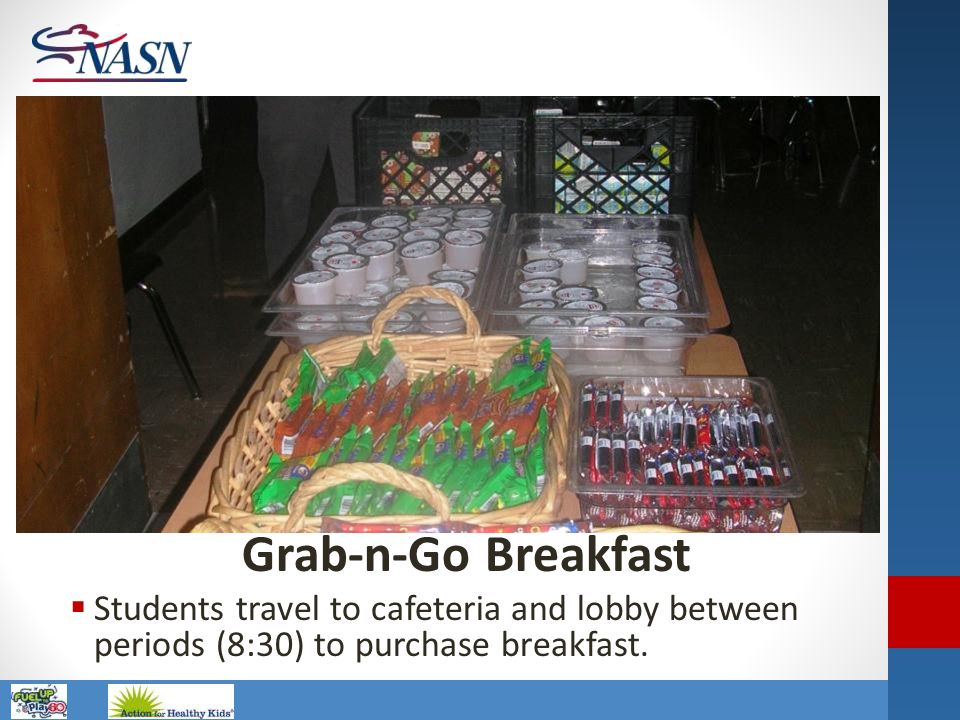Name of Presentation Grab-n-Go Breakfast  Students travel to cafeteria and lobby between periods (8:30) to purchase breakfast.