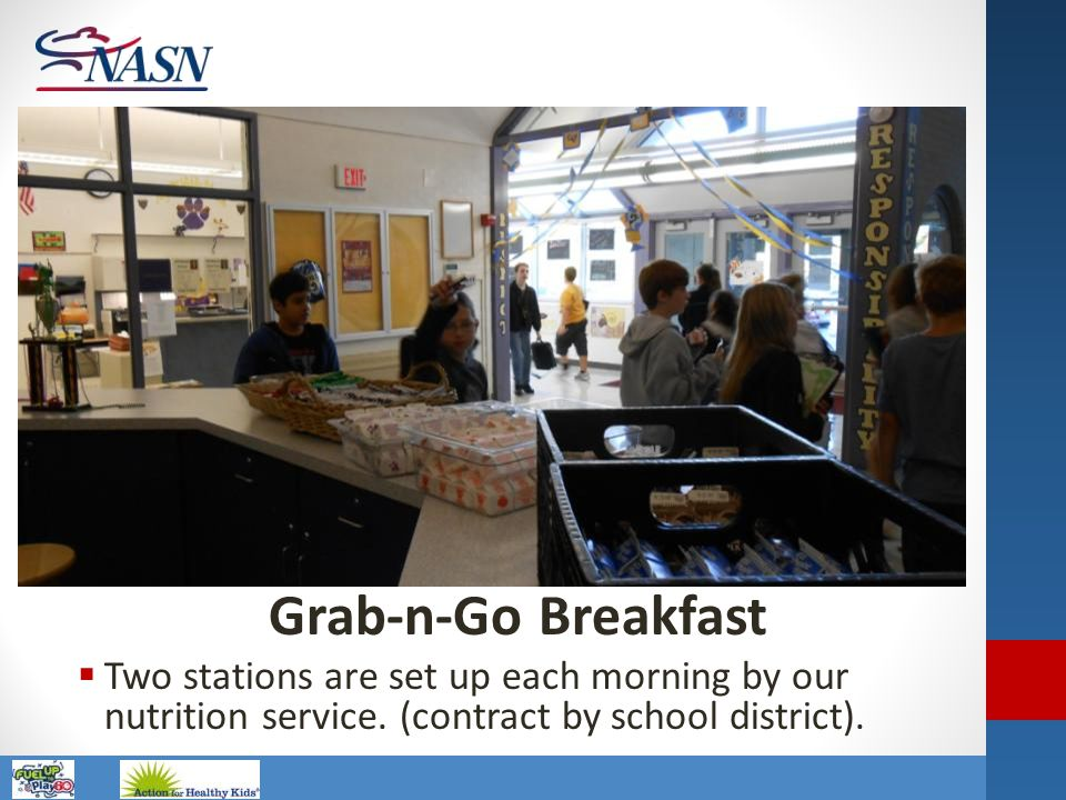 Name of Presentation Grab-n-Go Breakfast  Two stations are set up each morning by our nutrition service. (contract by school district).