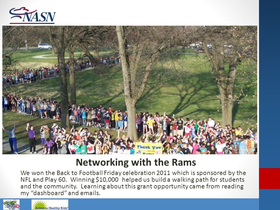 Name of Presentation Networking with the Rams We won the Back to Football Friday celebration 2011 which is sponsored by the NFL and Play 60. Winning $