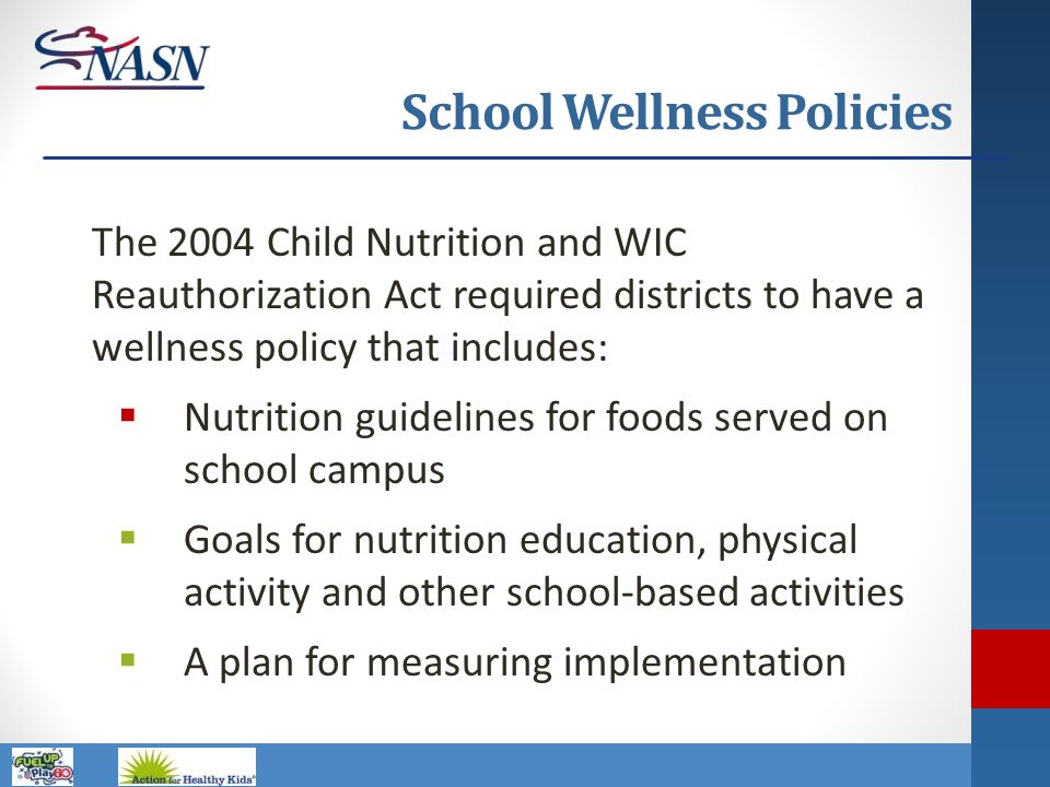 Name of Presentation School Wellness Policies The 2004 Child Nutrition and WIC Reauthorization Act required districts to have a wellness policy that i