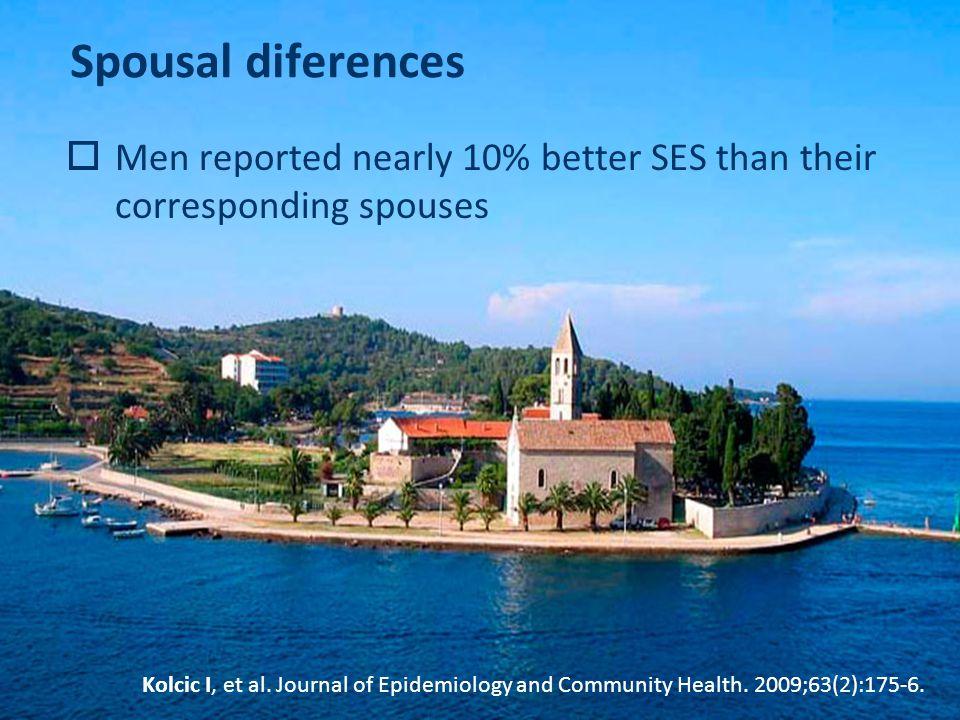 Spousal diferences  Men reported nearly 10% better SES than their corresponding spouses Kolcic I, et al.