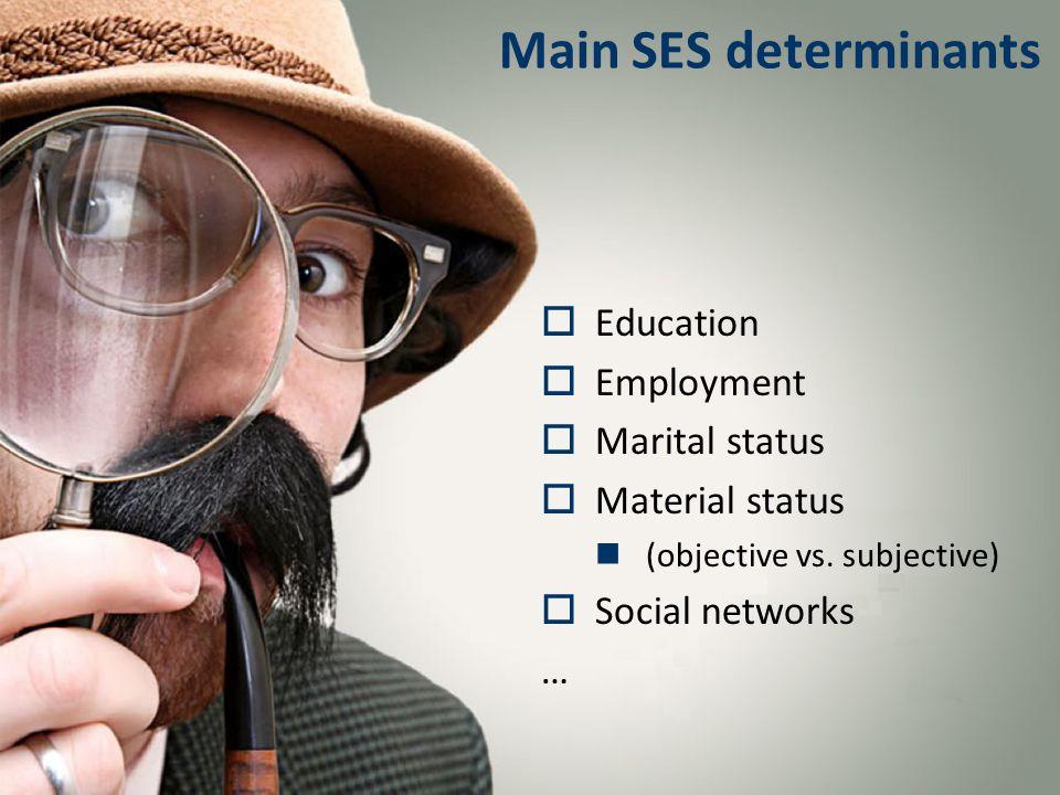 Main SES determinants  Education  Employment  Marital status  Material status (objective vs.