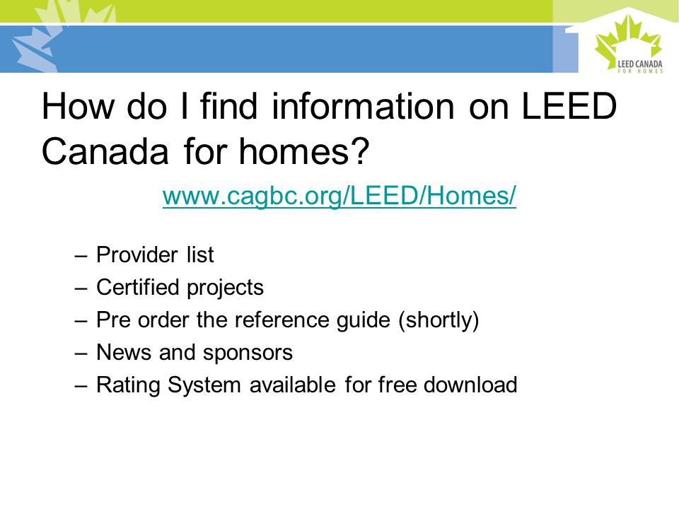 How do I find information on LEED Canada for homes.