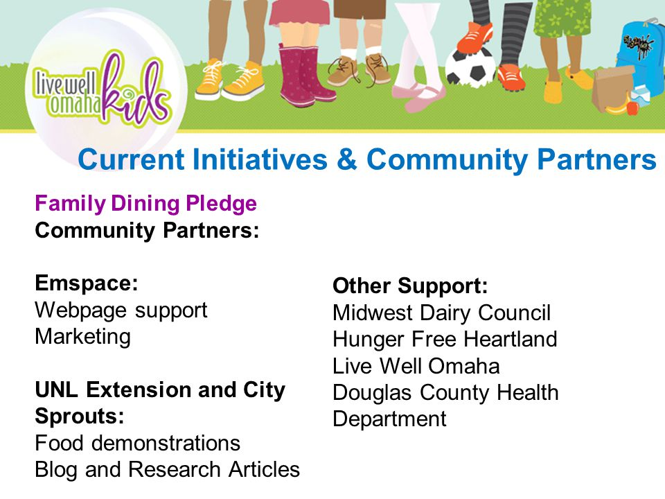 Family Dining Pledge Community Partners: Emspace: Webpage support Marketing UNL Extension and City Sprouts: Food demonstrations Blog and Research Articles Other Support: Midwest Dairy Council Hunger Free Heartland Live Well Omaha Douglas County Health Department Current Initiatives & Community Partners