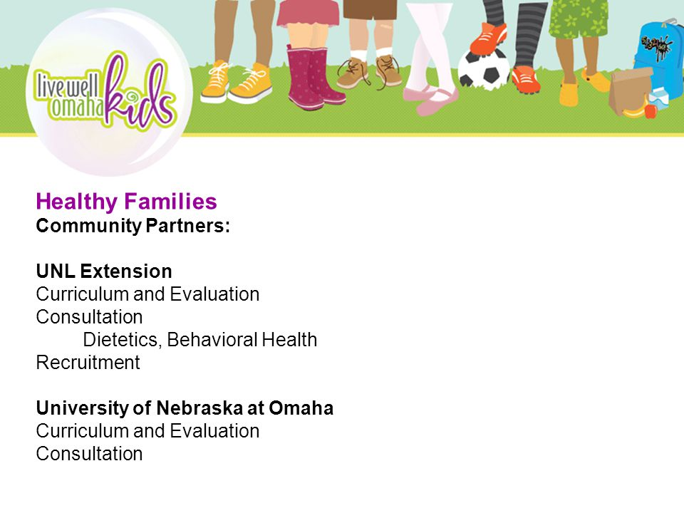 Healthy Families Community Partners: UNL Extension Curriculum and Evaluation Consultation Dietetics, Behavioral Health Recruitment University of Nebraska at Omaha Curriculum and Evaluation Consultation