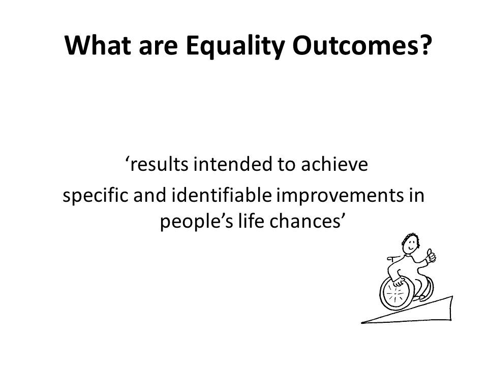 What long terms outcomes are in the Equality plan.