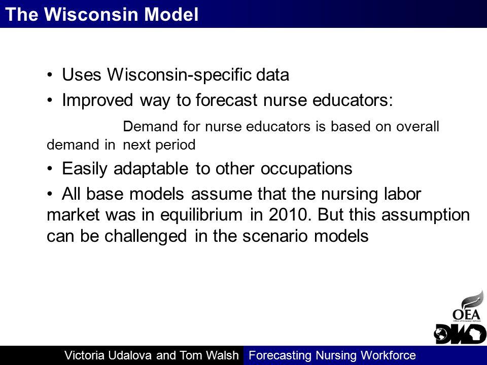 Victoria Udalova and Tom WalshForecasting Nursing Workforce Uses Wisconsin-specific data Improved way to forecast nurse educators: Demand for nurse ed