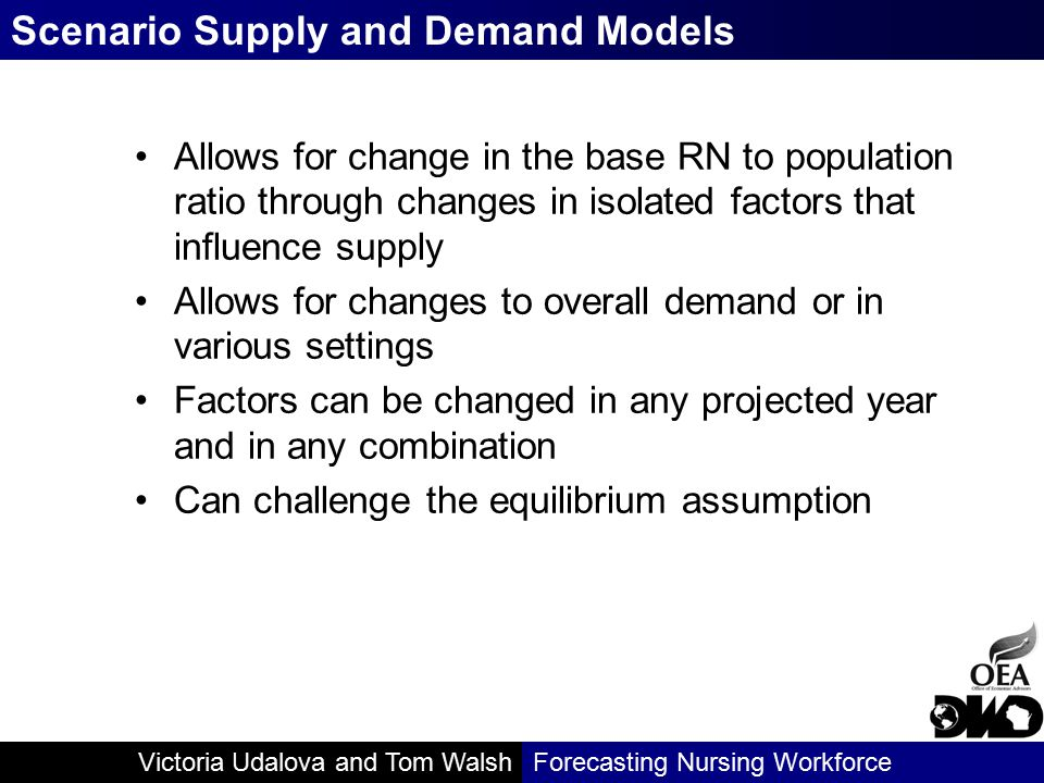 Victoria Udalova and Tom WalshForecasting Nursing Workforce Allows for change in the base RN to population ratio through changes in isolated factors t