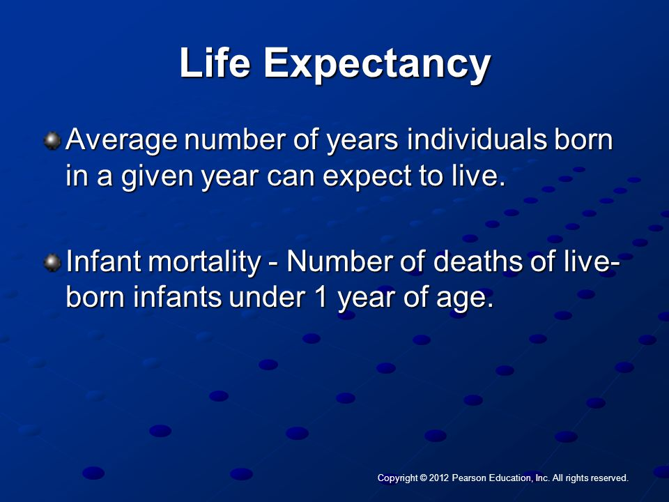 Copyright © 2012 Pearson Education, Inc. All rights reserved. Life Expectancy Average number of years individuals born in a given year can expect to l
