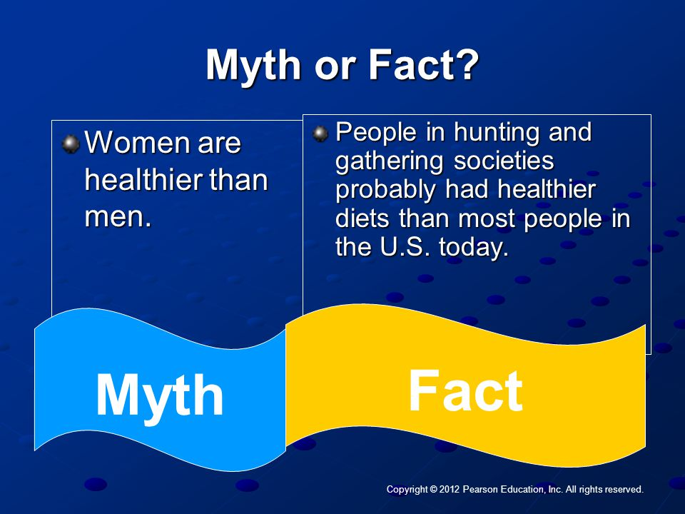 Copyright © 2012 Pearson Education, Inc. All rights reserved. Myth or Fact? Women are healthier than men. People in hunting and gathering societies pr