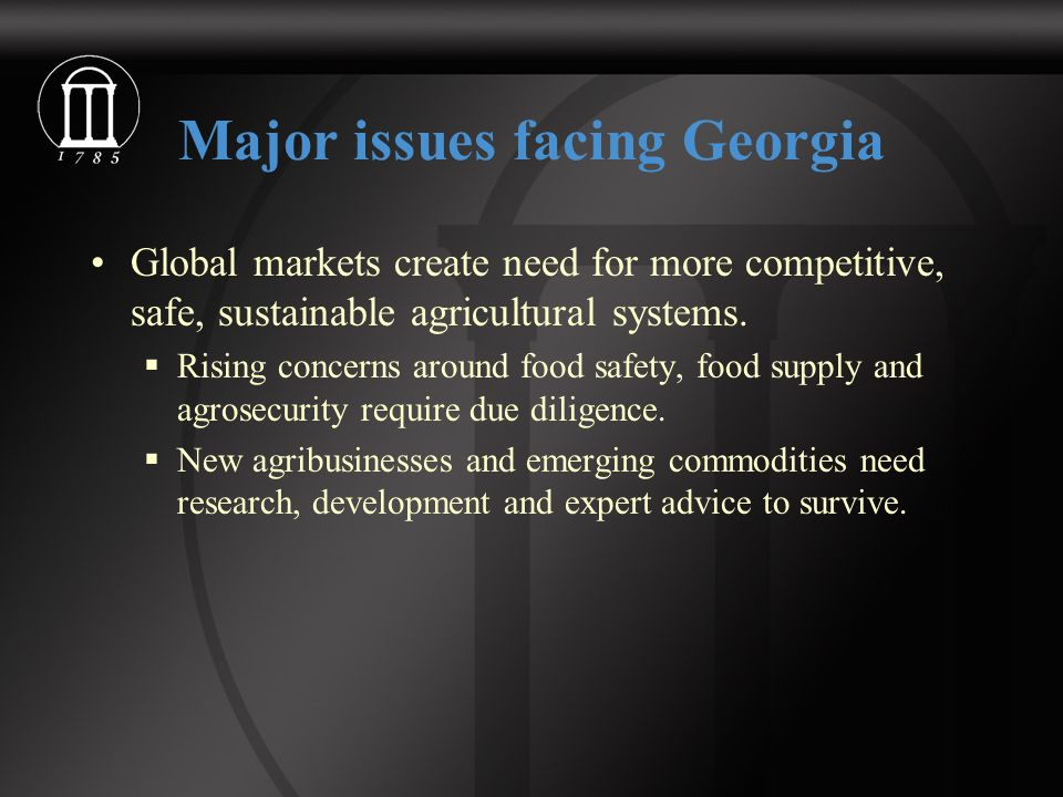 Major issues facing Georgia Global markets create need for more competitive, safe, sustainable agricultural systems.