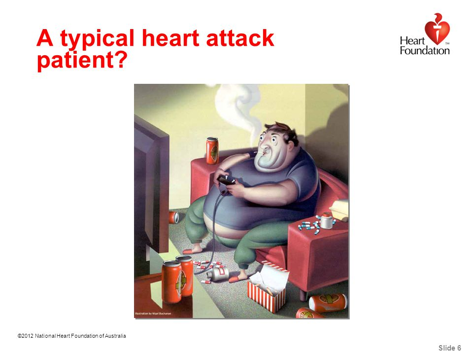 ©2012 National Heart Foundation of Australia Slide 7 For people aged 45-64 years 1 in 9 deaths is from heart disease Not Exactly!