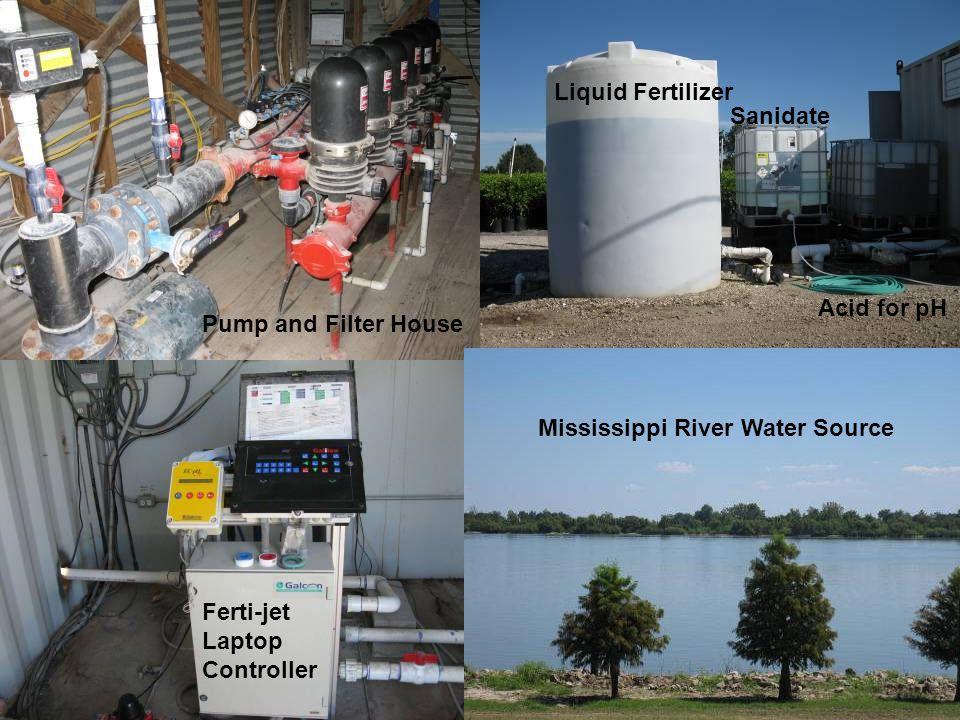 Pump and Filter House Liquid Fertilizer Sanidate Acid for pH Mississippi River Water Source Ferti-jet Laptop Controller