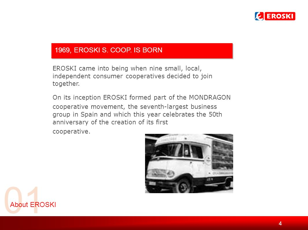 5 01 About EROSKI TODAY > 43,494 employees > 634,000 consumers > Turnover of €8bn > Spain's third-largest food retail distributor