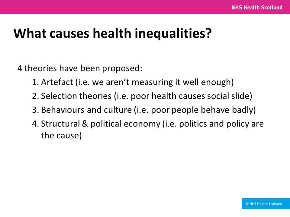 What causes health inequalities. 4 theories have been proposed: 1.Artefact (i.e.