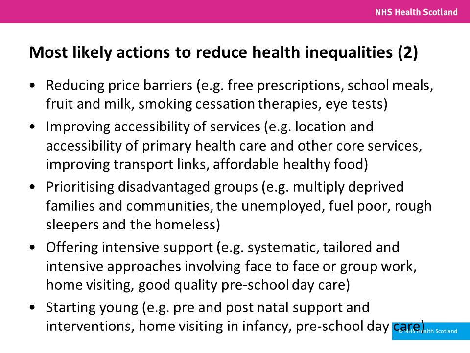 Most likely actions to reduce health inequalities (2) Reducing price barriers (e.g.