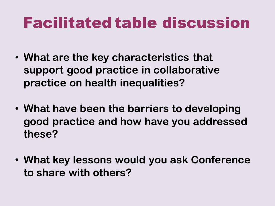 What are the key characteristics that support good practice in collaborative practice on health inequalities.