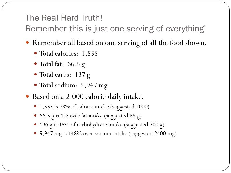 The Real Hard Truth. Remember this is just one serving of everything.