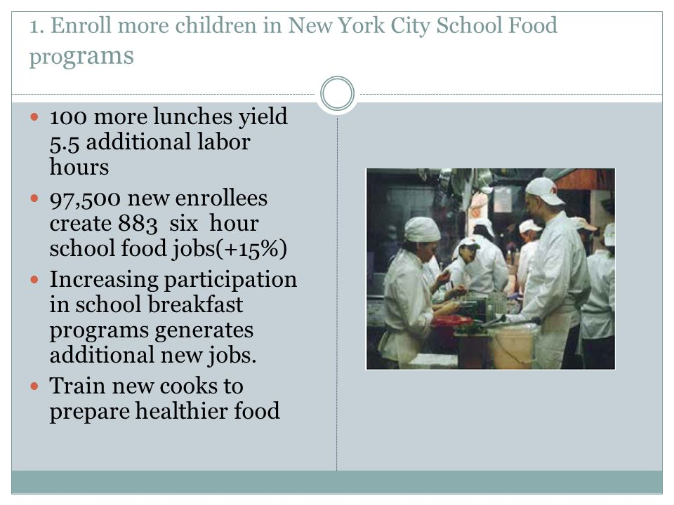 1. Enroll more children in New York City School Food pro grams 100 more lunches yield 5.5 additional labor hours 97,500 new enrollees create 883 six h