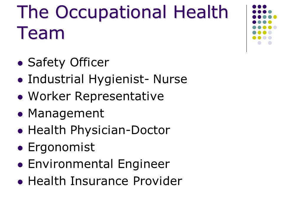 The Occupational Health Team Safety Officer Industrial Hygienist- Nurse Worker Representative Management Health Physician-Doctor Ergonomist Environmental Engineer Health Insurance Provider