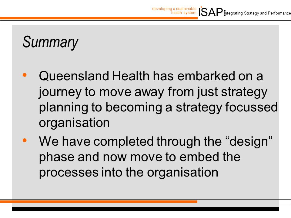 ISAP: developing a sustainable health system.