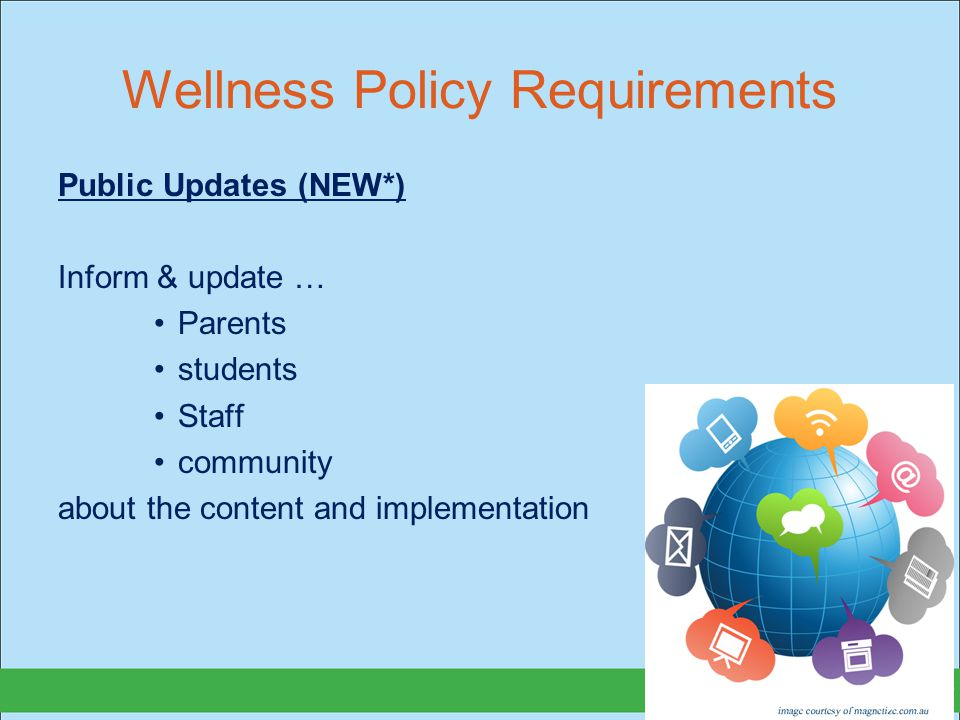 Wellness Policy Requirements Public Updates (NEW*) Inform & update … Parents students Staff community about the content and implementation