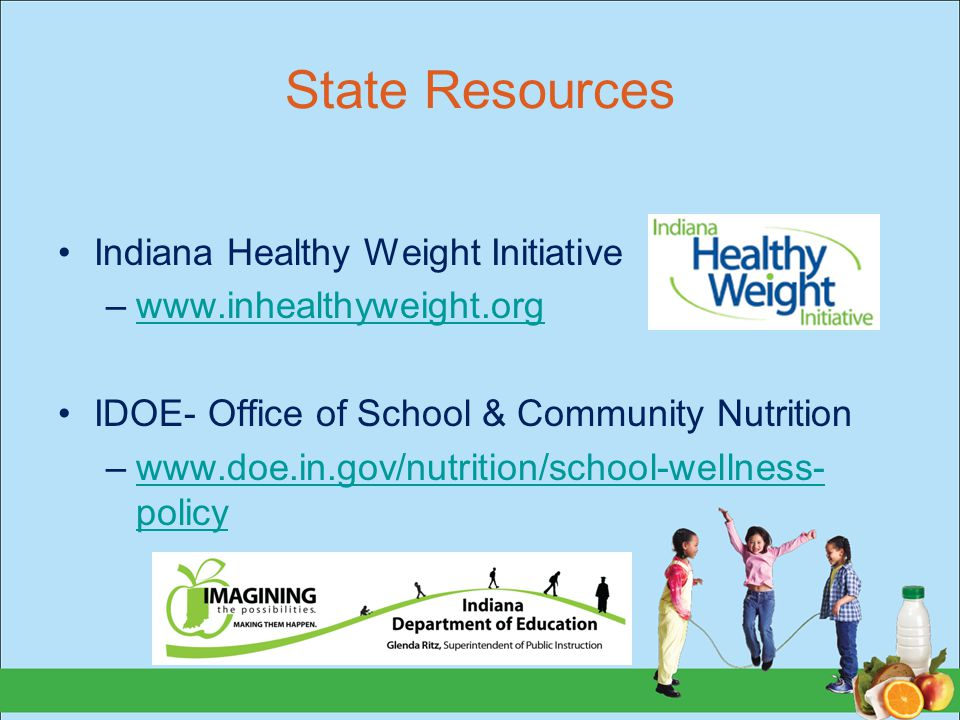 State Resources Indiana Healthy Weight Initiative –www.inhealthyweight.orgwww.inhealthyweight.org IDOE- Office of School & Community Nutrition –www.do