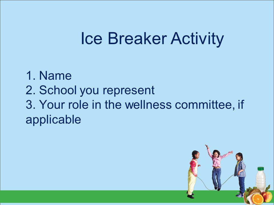 Ice Breaker Activity 1. Name 2. School you represent 3.
