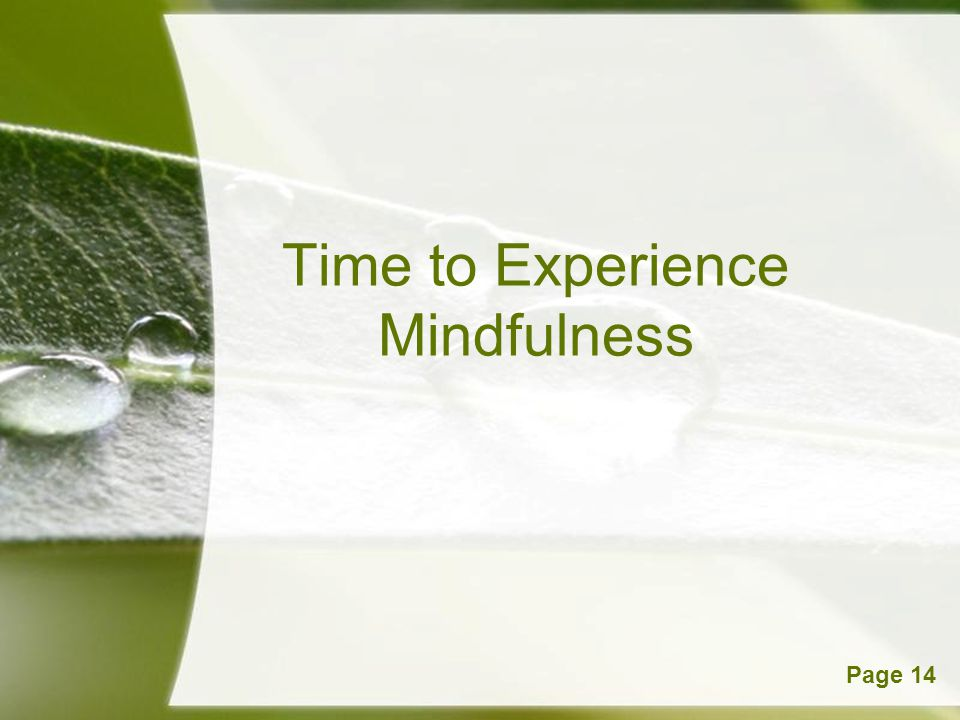 Powerpoint TemplatesPage 14 Time to Experience Mindfulness