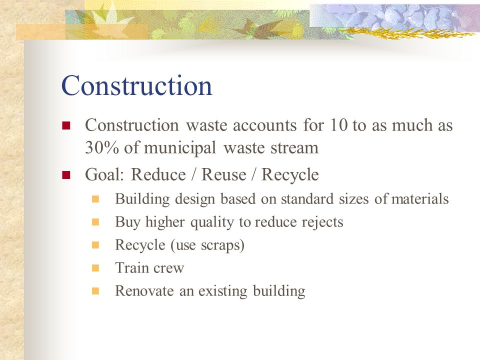 Building Design Goal: To design the building so that it requires less energy/water and is healthier for inhabitants when it is complete and in use Air ducts for an efficient and healthy air flow Insulation Windows designed for maximum daylight Passive Solar Control Solar Cells Heat Exchanger for climate control system Location