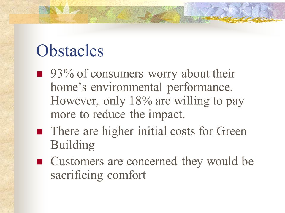 Obstacles 93% of consumers worry about their home's environmental performance.