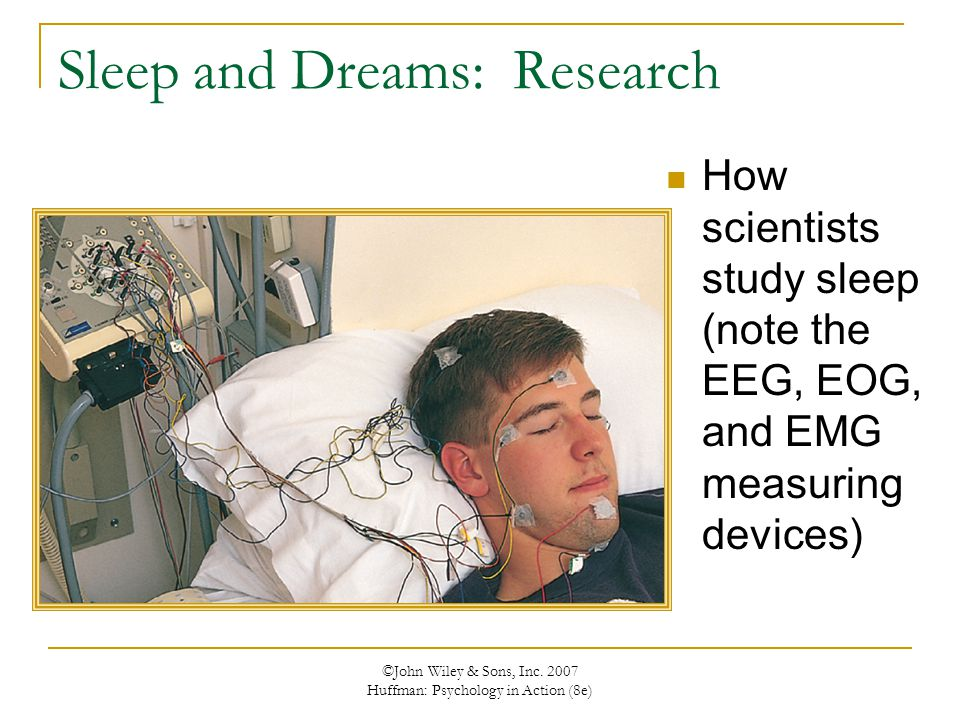 ©John Wiley & Sons, Inc. 2007 Huffman: Psychology in Action (8e) Sleep and Dreams: Research How scientists study sleep (note the EEG, EOG, and EMG mea