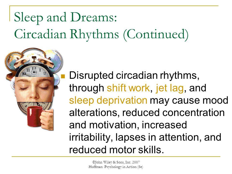 ©John Wiley & Sons, Inc. 2007 Huffman: Psychology in Action (8e) Sleep and Dreams: Circadian Rhythms (Continued) Disrupted circadian rhythms, through