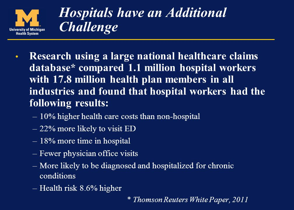 Hospitals have an Additional Challenge Research using a large national healthcare claims database* compared 1.1 million hospital workers with 17.8 mil
