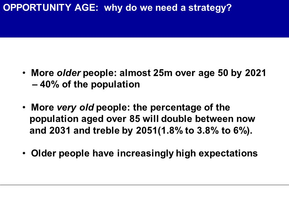 OPPORTUNITY AGE: why do we need a strategy.